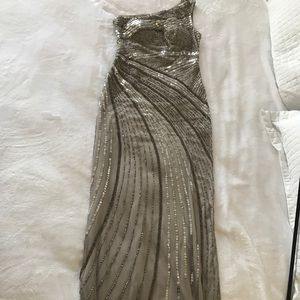 Grey/silver sequined beaded formal gown